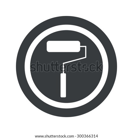 Image of paint roller in circle, on black circle, isolated on white - stock photo