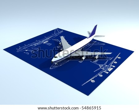 Image of passenger airplane and engineering blueprint