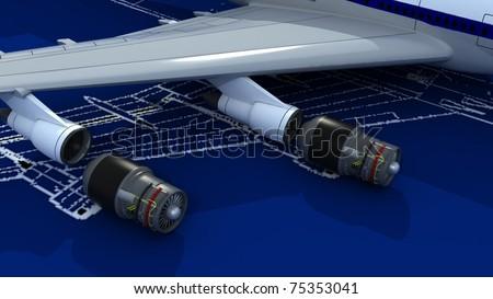 Image passenger airplane engineering blueprint jet ilustracin de image of passenger airplane and engineering blueprint with jet engines malvernweather Images