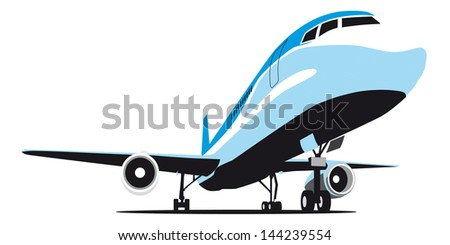 image of passenger airplane isolated on white background, executed in restrained gamut. No blends and gradients.   - stock photo