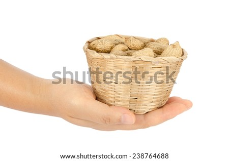 Image of peanuts in hand on white background