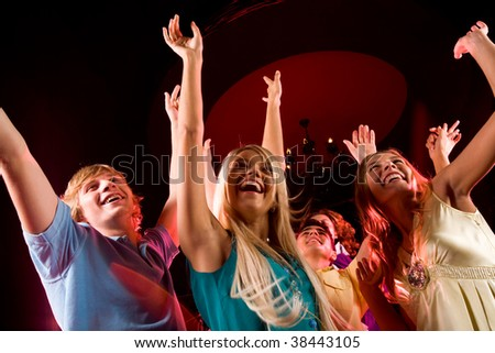 Image of people celebrating Christmas at home - stock photo