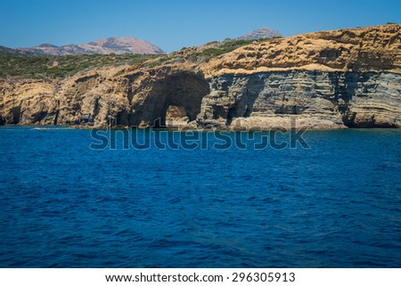 Image of picturesque rocks off the coast of the island of Milos, Greece
