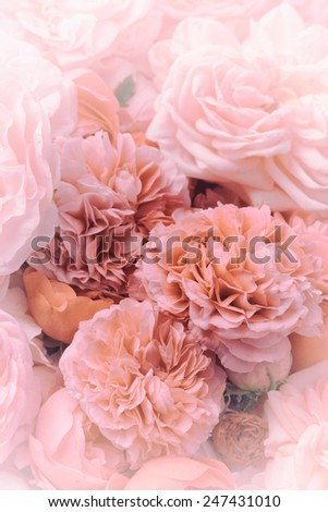 Image of pink vintage roses background texture. - stock photo