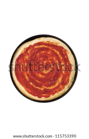 Image of pizza dough with tomato sauce isolated on white background - stock photo