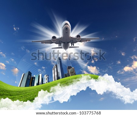 Image of plane on blue sky background - stock photo