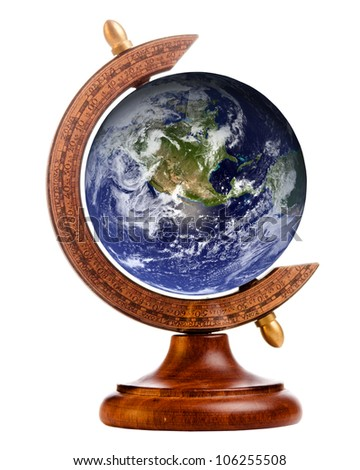 Image of planet earth on stand for antique globe, with elements of this image furnished by NASA - stock photo