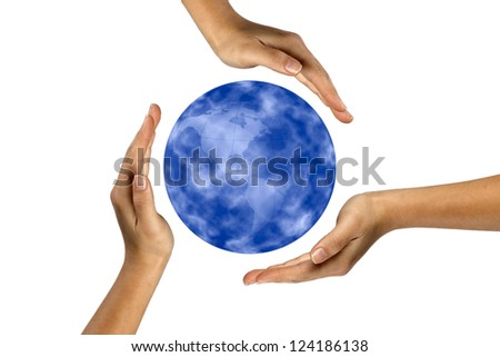 Image of planet earth while hands forming recycle symbol around it. - stock photo