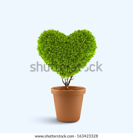 Image of plant in pot shaped like heart