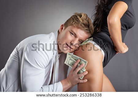 Image of pleased man hugging sexy stripper - stock photo