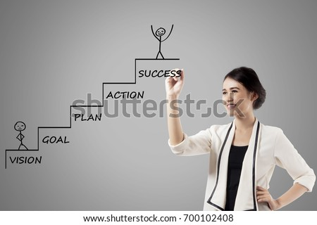 Image of pretty businesswoman is drawing a ladder with a strategy plan to success