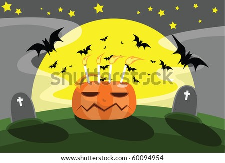 Image of pumpkin and bat behind the grave on Halloween night.