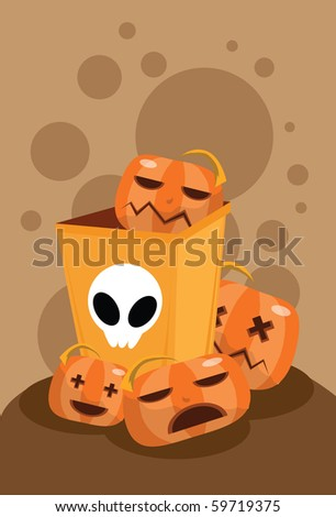 Image of pumpkins ghost carving decoration on Halloween for tricks or treat.