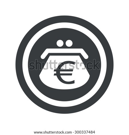 Image of purse with euro symbol in circle, on black circle, isolated on white - stock photo