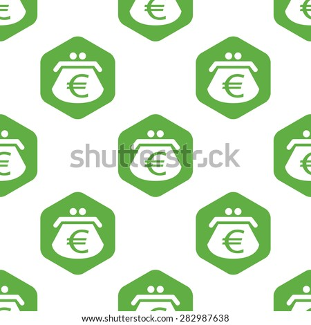 Image of purse with euro symbol in hexagon, repeated on white background - stock photo