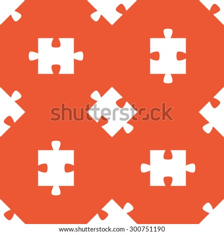 Image of puzzle piece, repeated on orange background