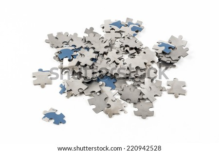 Image of puzzle pieces isolated close up - stock photo