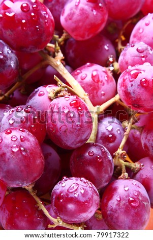 Image of red grape background with water drops - stock photo