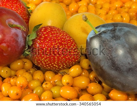 Image of ripe fruits closeup - stock photo