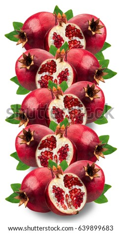 Image of ripe pomegranates and leaves isolated on a white background