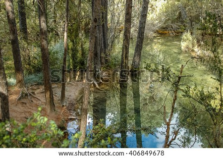 Image of river with green and blue waters in Castilla la Mancha, Spain