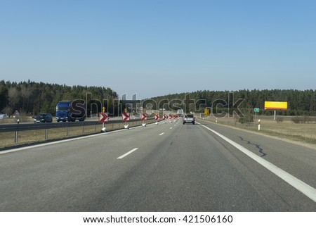 Image of Road signs in a highway on reconstruction - stock photo