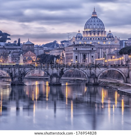 Image of Rome from the river tiber at dusk. Rome, Italy. - stock photo