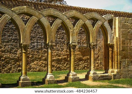 Image of ruined cloister of San Juan de Duero Monastery in Soria, Castilla y Leon, Spain