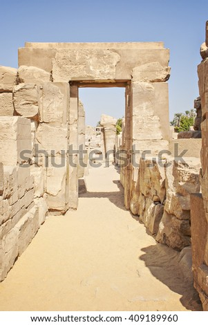 Image of ruins at the temple of Karnak. Luxor, Egypt.  - stock photo
