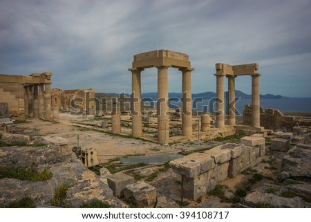 Image of ruins of Lindos castle on Rhodes island in Greece