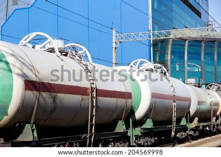 Image of Russian rail road locomotive - stock photo