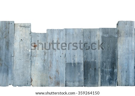 Image of Rusty corrugated metal isolate on white background with clipping path - stock photo