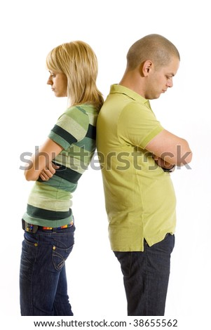 Image of sad girl and boy after having an argument