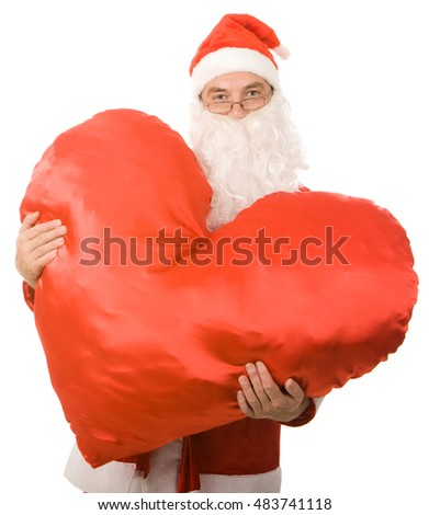 Image of santa claus with heart on a white background