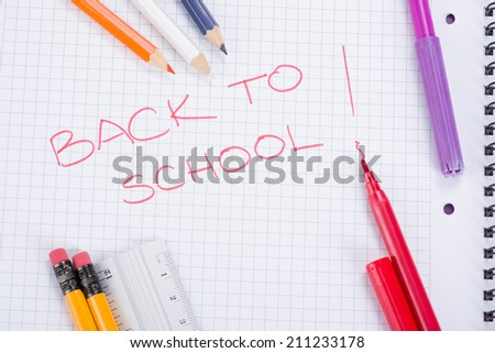 Image of School and office supplies, back to school