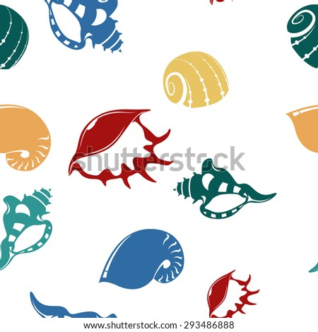 Image of seamless pattern with shell