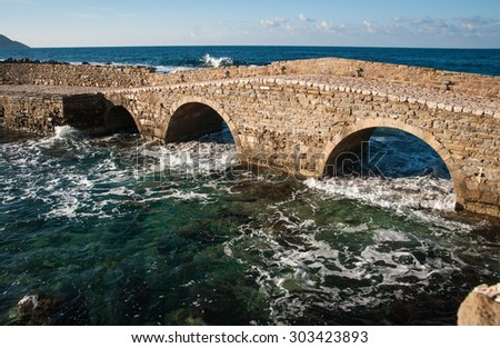 Image of seascape and ruins of fortress of Methoni, Peloponnese, Greece