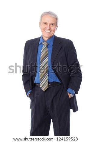 Image of senior businessman smiling, isolated on white - stock photo