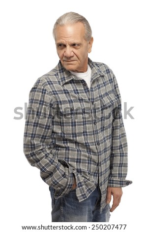 Image of senior man looking away with hand in pocket against white background
