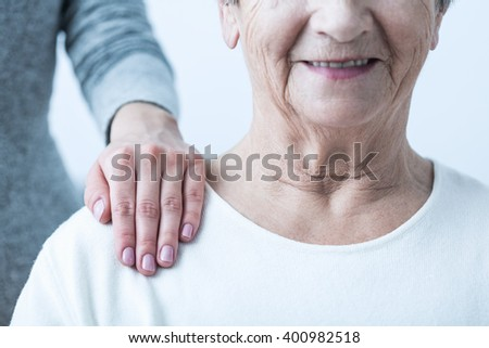 Image of senior with positive attitude during therapy - stock photo