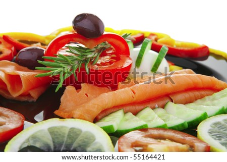 image of served salmon slices and vegetables