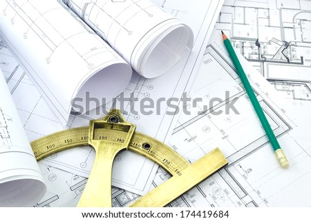 Image of several drawings of the project and instruments /Project drawings    - stock photo