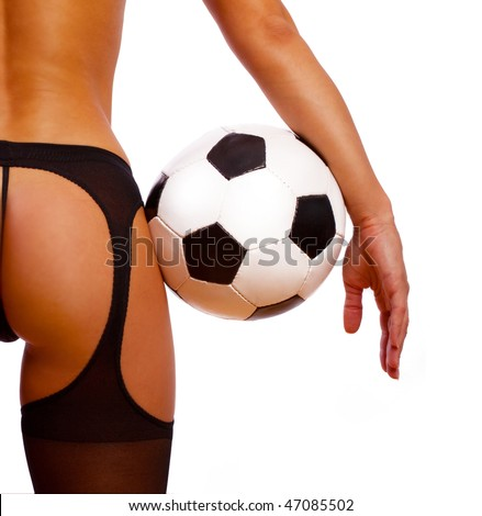 Image of sexy girl with ball from behind