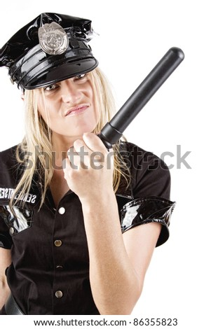 Image of sexy policewoman with stick