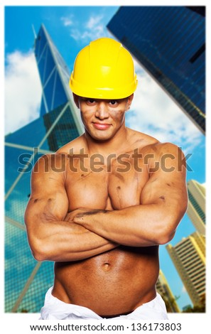image of shirtless tainted hardworker