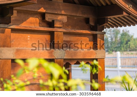 image of small wooden shrine in Japan temple. - stock photo