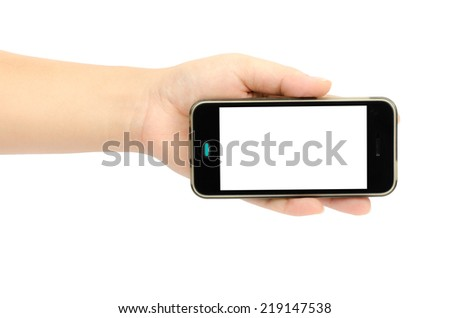 Image of smart phone in woman's hand isolate on white background