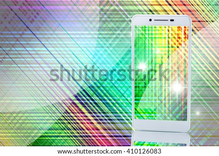 Image of smartphones on techno background close up
