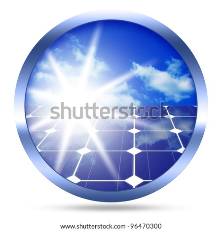 Image of solar panels - clean energy source image isolated over white background - stock photo