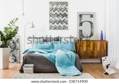 Image of spacious bedroom with modern stylish furniture. Interior Cozy Bedroom Modern Design Stock Photo 362198879